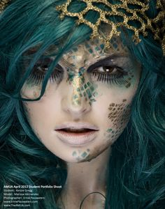 mermaid Halloween face makeup?! Just need some fishnets to create the scale look! <3 green hair color