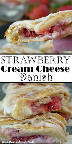 Strawberry Cream Cheese Danish is an incredibly delicious strawberry danish recipe with a sweet cream cheese mixture and fresh strawberries. Strawberry Danish Recipe, Strawberry Breakfast, Strawberry Desserts, Fun Desserts, Delicious Desserts, Dessert Recipes, Yummy Food, Strawberry Cream Cheese Dessert, Health Desserts