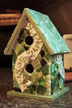 Mosaic Birdhouse - GLASS CRAFTS