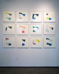 "Agnes Barley, ""Deconstructed Waves"" series, collage, 15 x 16 inches each"