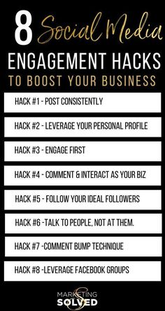 8 Social Media Engagement Hacks, Strategies & Tips to Boost Your Business 8 Social Media Engagement Hacks, Strategies & Tips to Boost Your Business// social media engagement tips // social media engagement hacks // social media engagement strategies Marketing Digital, Marketing Software, Marketing Tools, Marketing Quotes, Content Marketing, Internet Marketing, Online Marketing, Business Marketing, Marketing Ideas