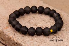 Misty Black: Black Rubber Beads Bracelet Stretch by Vintage2Classy