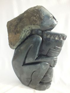 Shona Stone Sculpture of Lady woman with drum bowl