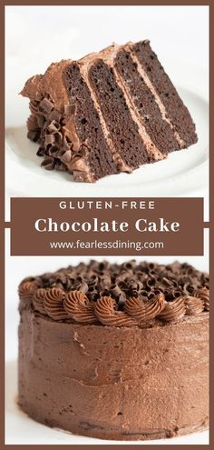 This decadent rich gluten free chocolate cake makes a delicious birthday cake. Moist and chocolaty, this easy gluten free cake is topped with a homemade chocolate buttercream frosting www.fearlessdining.com Dairy Free Gluten Free Cake Recipe, Gluten Free Frosting, Gluten Free Deserts, Gluten Free Cakes, Gluten Free Foods, Dairy Free Chocolate Cake, Chocolate Buttercream, Homemade Chocolate, Buttercream Frosting