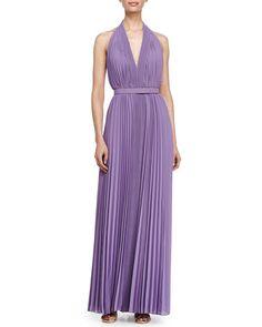 TA21L Halston Heritage Pleated V-Neckline Gown, Violet