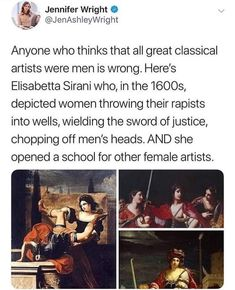 Elisabetta Sirani - an Italian Baroque painter and graphic artist.Elisabetta Sirani – an Italian Baroque painter and graphic artist. In the… - Education Subjects History Facts, Art History, History Memes, Wow Art, Badass Women, The More You Know, Interesting History, Faith In Humanity, Women In History