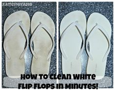 I just tried this with mine and my daughter's white flip flops this morning. Seriously worked!!!!!! The flip flops look almost brand new! (a little wear on the bottom of course) YAY! No more gros black/brown flip flops!!!!!!!! (mm)  Super easy way to clean white flip flops in just minutes!