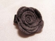 Velcro Hair Clip  Felt Rose  Grey  Toddler by TurtleTotsDesigns, $3.00