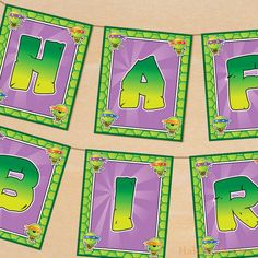 Printable Teenage Mutant Ninja Turtle Inspired Happy Birthday Banner.  via Etsy.