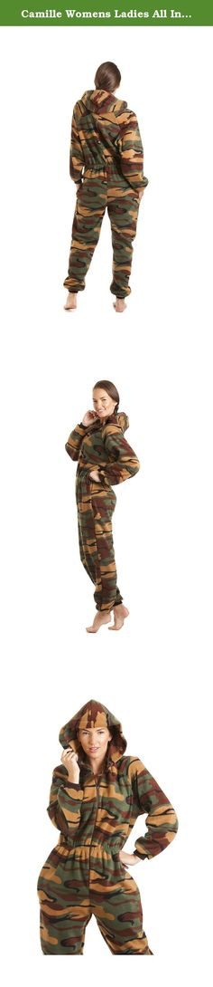 Camille Womens Ladies All In One Green Camouflage Hooded Fleece Onesie Pajama 6-36 XXXL GREEN. This Funky Green Camouflage Print Luxury All In One Consists Of Full Length Sleeves With A Zip Up Front. The Onesie Also Has A Hood, Two Pockets And Is Footless. This Onesie Is The Height Of Comfort For Evening And Bedtime And Will Keep You Warm And Cozy On Cold Winter Nights. 6/8- Inside Leg: 29 inches, Shoulder to ankle: 61 inches, Chest: 48 inches, Waist: 42 inches, Inside Arm: 19 inches…