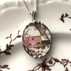 Broken china jewelry - snowy red barn farm scene trees cattle oxen - vintage china - broken china jewelry pendant necklace