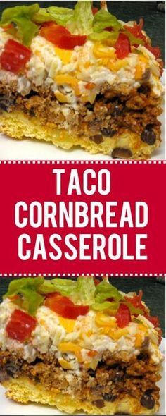 My husband loves taco meat. I have about 5 to 6 recipes with taco meat and this . My husband loves taco meat. I have about 5 to 6 recipes with taco meat and this is the best! CHeck out my taco cornb Taco Cornbread Casserole, Easy Casserole Recipes, Beef Casserole, Easy Main Dish Recipes, Quick Recipes, Meat Recipes, Mexican Food Recipes, Dinner Recipes, Cooking Recipes