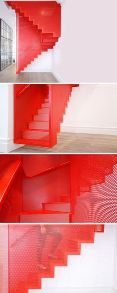 Perforated Steel Suspended Staircase by Diapo, Inspired from installation by Do Ho Suh at the Tate Modern Gallery.