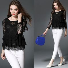 UNOMATCH WOMEN LONG SLEEVES LACE COVERED PARTY WEAR SHIRT AND BLOUSE BLACK Product Code: UWSB799 ☏ For Contact : +1 201 665 5009 #unomatchshop #dress #sexy #womendress #shirts #blouses #partydress #fashion #usafashion