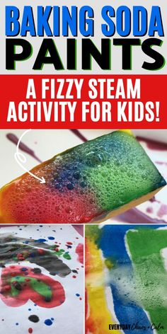 Are you looking for a fun STEAM activity to do with the kids? Try making baking soda paints to combine science and art into a fun activity for all ages! Let your kids explore these baking soda paints then add vinegar for a fizzy reaction with their art. Great STEAM activity for toddlers, preschoolers, and big kids!