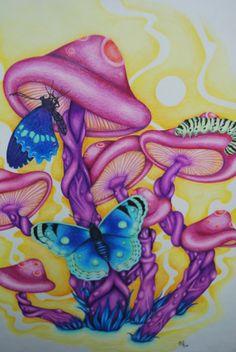 Mushroom Paint, Mushroom Drawing, Mushroom Wallpaper, Trippy Mushrooms, Psychedelic Drawings, Trippy Painting, Hippie Art, Art Drawings Sketches, Whimsical Art