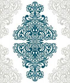 vintage baroque border frame card cover flower motif arabic retro pattern ornate Stock Photo