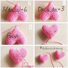Bu Kalpleri Örmek Çok Kolay Amigurumi kalp yapılışı❤️ Amigurumi heart pattern❤️ 1. 5X = 5(Sihirli halka içine/ in the magic ring) 2. 5V = 10 3. 5 (X,V) = 15 4. 15X = 15 5. 15X =15 Yaptığımız bu ilk...