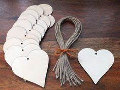 100 Wooden Hearts Gift Tags Wedding Table Place Names Favours Blank Shapes Invitation 5 cm, 6.5 cm, 8 cm, 10 cm & 15 cm