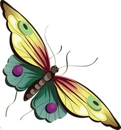 Cartoon Yellow and Blue Butterfly Clipart