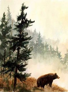 Watercolor tattoo - Black Bear Mountains Wildlife Nature Fine Art Watercolor Collector Print - malerei - New Watercolor Art Aquarelle, Art Watercolor, Watercolor Animals, Simple Watercolor, Watercolor Landscape Paintings, Watercolor Tattoos, Art D'ours, Aquarell Tattoo, Mountain Tattoo