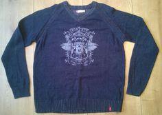 LEVI S Men s Jumper Sweater XL/TG Navy Blue Red Brand Name V Neck Cotton Vintage
