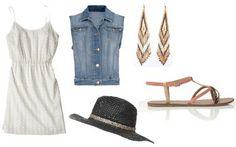 White dress, denim vest, sandals, hat, earrings. #style