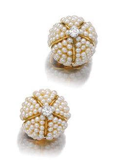 - Pair of seed pearl and diamond ear clips, 'Boule', Cartier, 1943