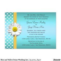 c5c717961d0 Blue and Yellow Daisy Wedding Invitation Daisy Wedding