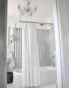galvanized metal tub surround and really liking the curtain