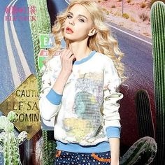 Elf SACK cup spring female fashion loose o-neck print organza patchwork sweatshirt female long-sleeve w