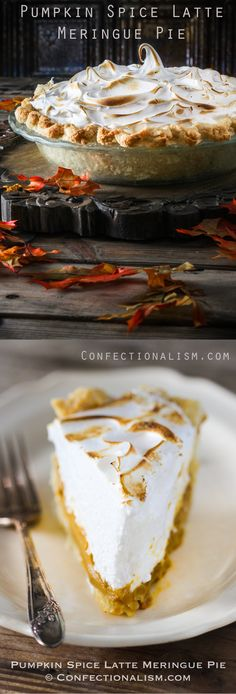 This is so darn good! The ultimate Fall or Halloween Dessert Recipe. Taking your favorite fall beverage, the pumpkin spice latte, and taking it to new and decadent heights in pie form. The toasted swiss meringue is cloudy deliciousness in every bite.