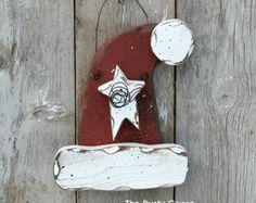 Santa Hat, Santa Decor, Primitive Santa Hat, Rustic Santa Hat, Christmas Door Hanger, Winter Holiday Decor, Santa Door Hanger