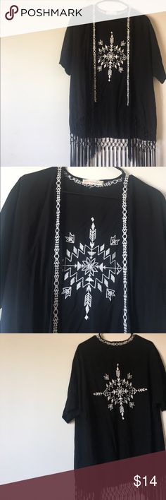 Tribal cardigan with fringe Never worn. Fringe is still in perfect condition. Super cute to wear with dresses. Size small. Sweaters Cardigans