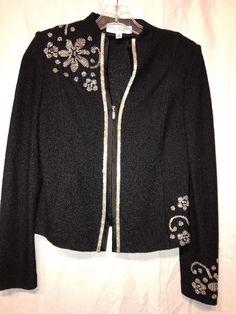 st john evening Stunning Black Floral Boucle Knit Size 2 Blazer  | eBay