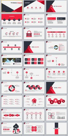 30+ Red Infographics Report PowerPoint Template