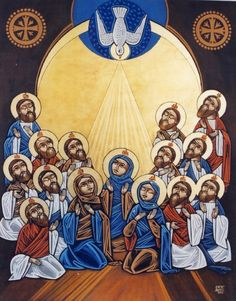 Pentecost - Coptic Icon (note 3 Marys in the center framed by the 11)