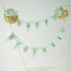 Toile de jute rustique gâteau gâteau d'anniversaire bannière, menthe, or banderoles, gâteau bannière C318 - topper gâteau chic minable
