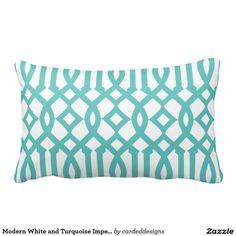 Modern White and Turquoise Imperial Trellis Throw Pillows