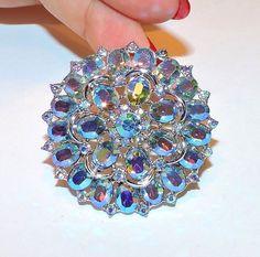 1900~Vintage Signed TRIFARI (Crown) Silvertone Light Blue AB Rhinestone Brooch** #Trifari
