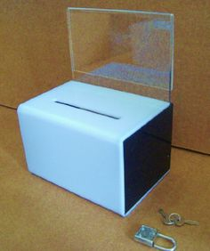 2b96ce823a4 Black and White Donation Box w  Indication Holder and Lock