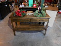 Sofa Table with 2 drawers and shelf Antiqued stain. Handcrafted of solid wood by W. Harris and Sons for The Old Mercantile in Clarksville Tn.---Like us on Facebook----931-552-0910
