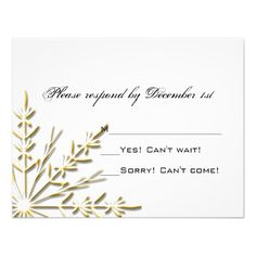 Gold Snowflake Wedding RSVP Response Card Personalized Invitations