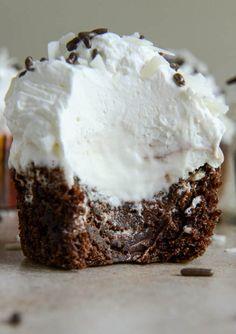 Fudge Brownie and Coconut Ice Cream Cupcakes