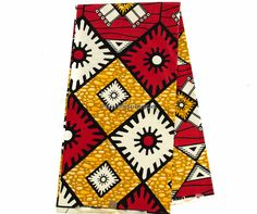 Red African Print Fabric
