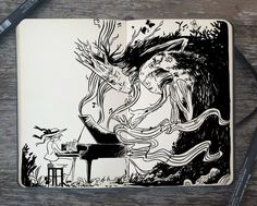 #246 Spring by Picolo-kun.deviantart.com on @DeviantArt Sketchbook Inspiration, Art Sketchbook, Ink Illustrations, Illustration Art, Art Sketches, Art Drawings, Academic Drawing, Pen Art, Beautiful Drawings