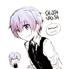 This haircut to me looks way better then in the future of Assassination Classroom, when we see Nagisa get his haircut. XD