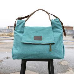 Women Casual Leather Canvas Green Handbag