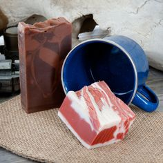 Bacon Soap and Whiskey Soap? Sounds like an Outlaw's Breakfast to me. Plus a metal cup, because magnificent enamelware mugs are nice (24 oz).