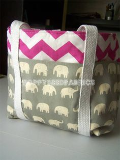 This tote bag is fun and easy to make and looks great using two coordinated fabrics. The bottom half of the bag has large pockets all the way around, so th